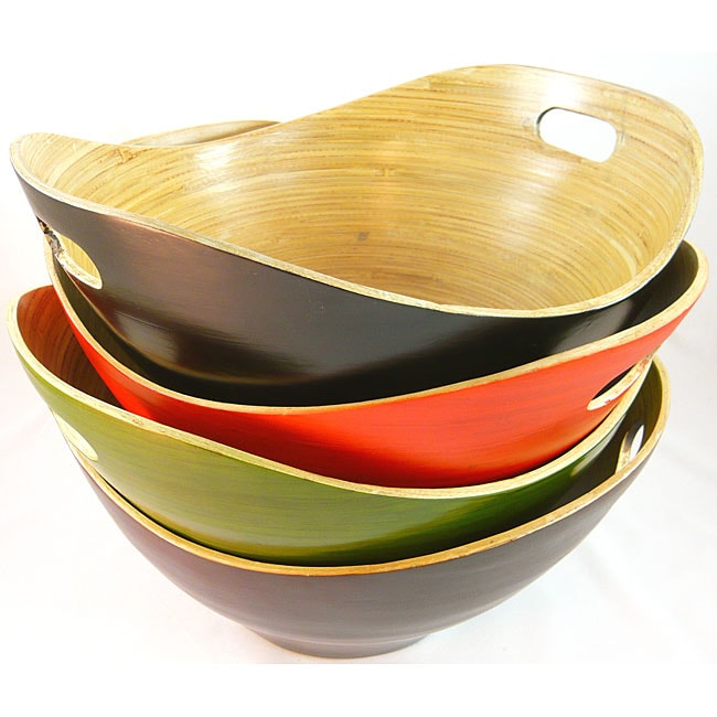 Shop Handmade Large Bamboo Serving Bowl With Handles