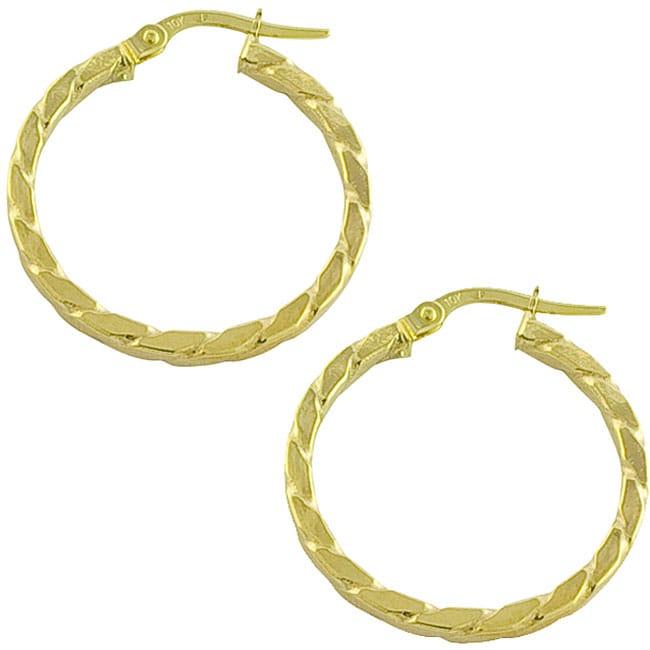 10k Yellow Gold Rope Hoop Earrings