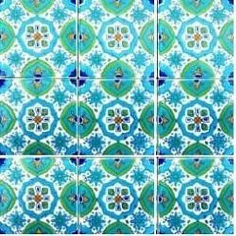 Fatima Blue Design Accent Ceramic Tiles (Set of 9)