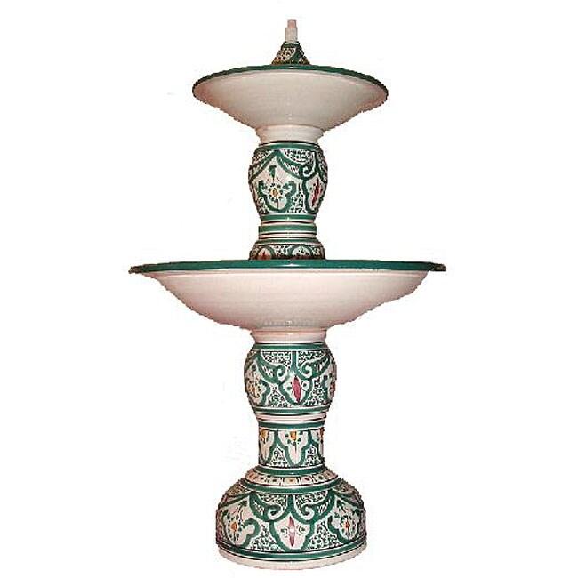 Handmade 'Moroccan Green' Ceramic Water Fountain