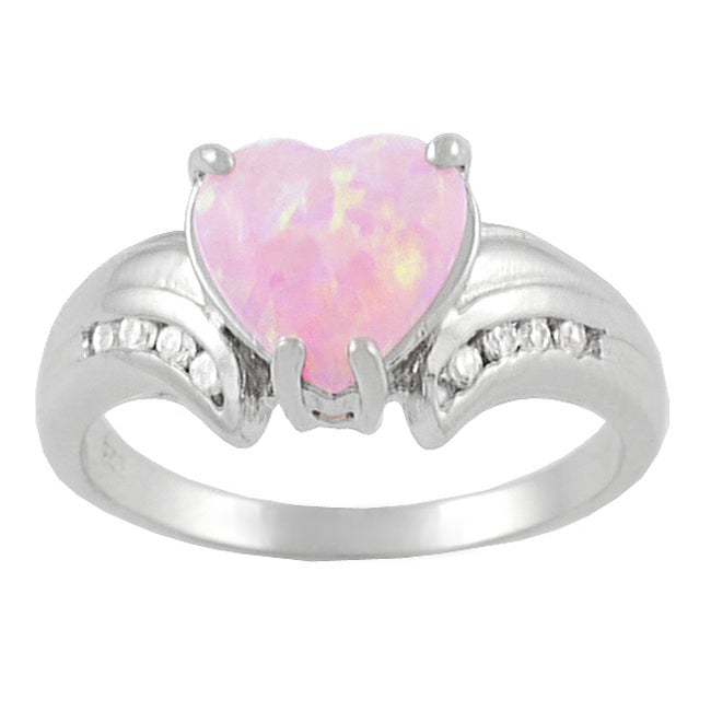 Journee Sterling Silver Heart-cut Opal and CZ Ring