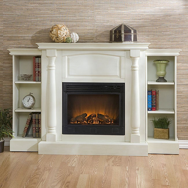 grenoble white bookcase electric fireplace with remote free shipping today. Black Bedroom Furniture Sets. Home Design Ideas