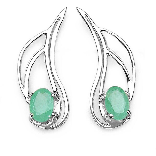 Malaika Silver Genuine Emerald Earrings