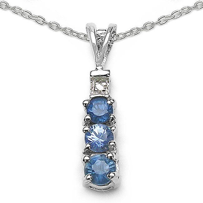 Malaika Sterling Silver Blue Sapphire/ Diamond Accent Necklace