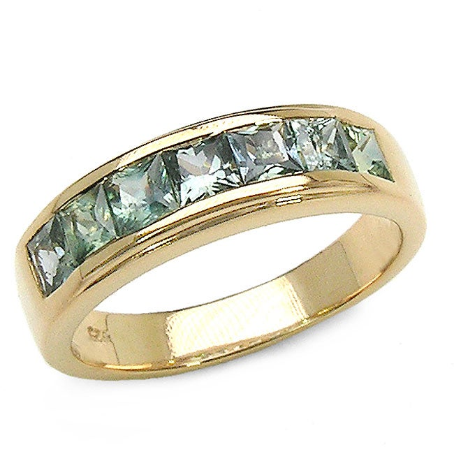 Malaika 18k Gold over Silver Genuine Green Sapphire Ring