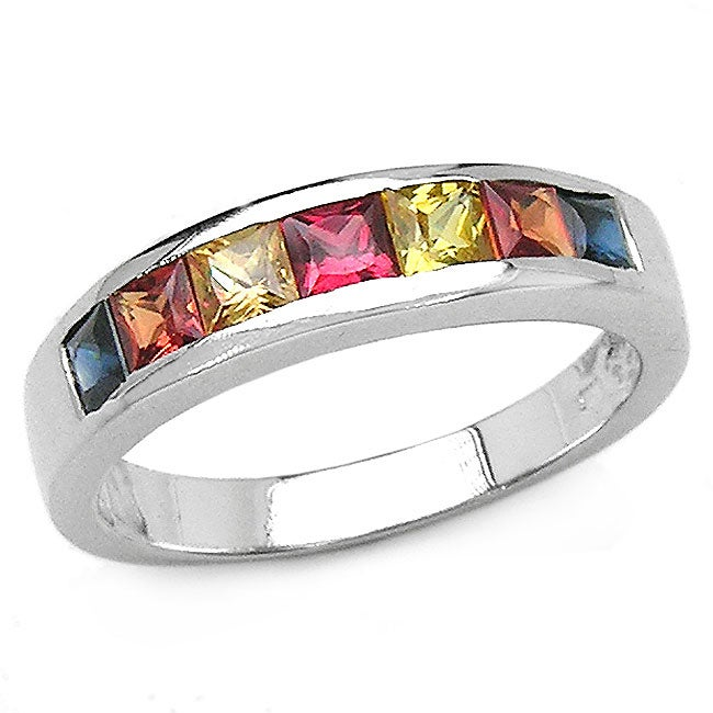 Malaika Sterling Silver and Multi-sapphire Squares Ring