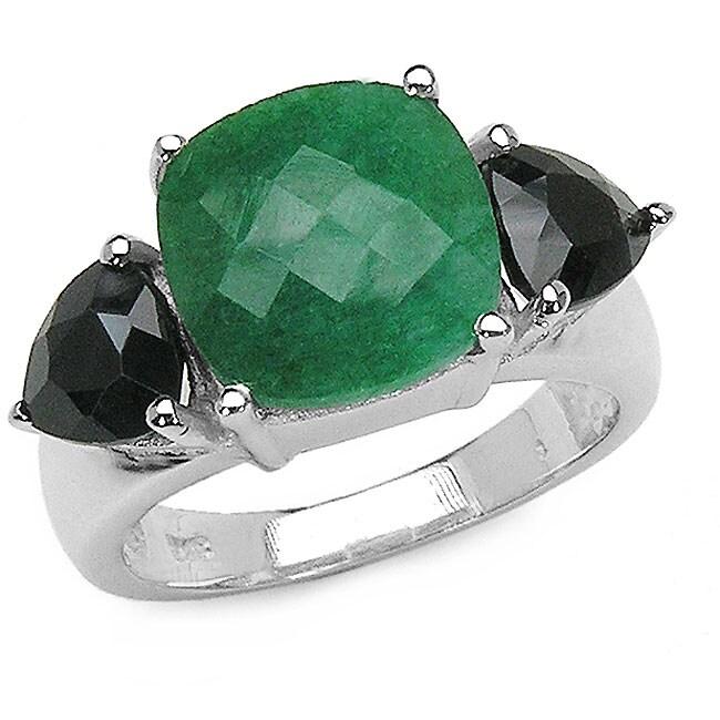Malaika Silver Emerald and Black Sapphire 3-stone Ring
