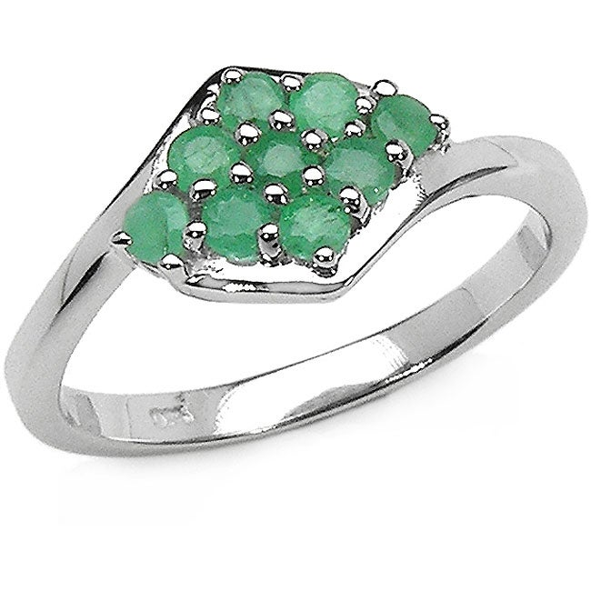Malaika Sterling Silver and Emerald Cluster Ring