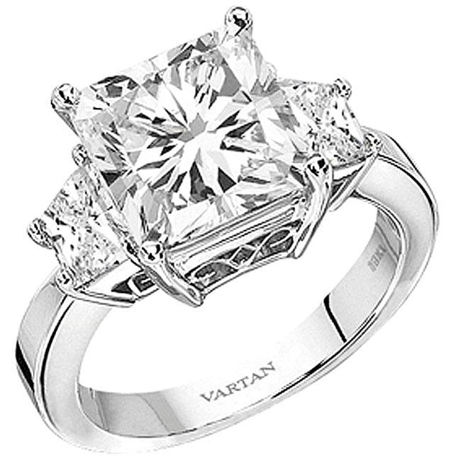 Platinum 4ct TDW Princess Diamond Engagement Ring (H, SI2)