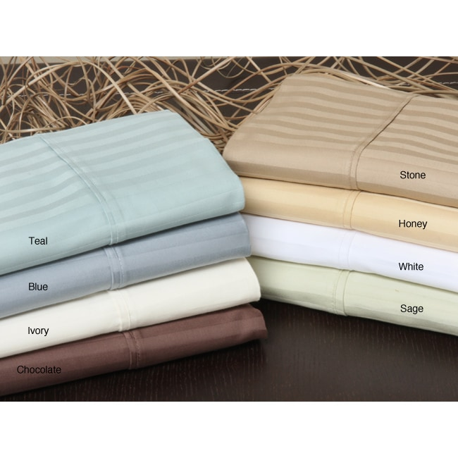 Majestic 400 Thread Count Sateen Stripe Sheet Set with Bonus Pillowcases