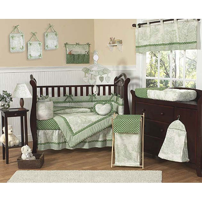 Sage French Toile And Polka Dot Baby Crib Bedding Free