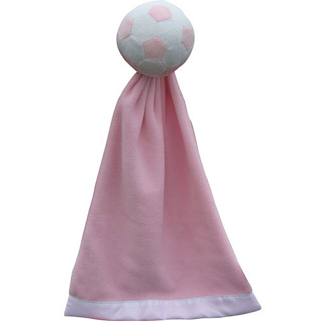 Plush Pink-and-white Polyester Soccer Snuggleball with Fleece Blanket