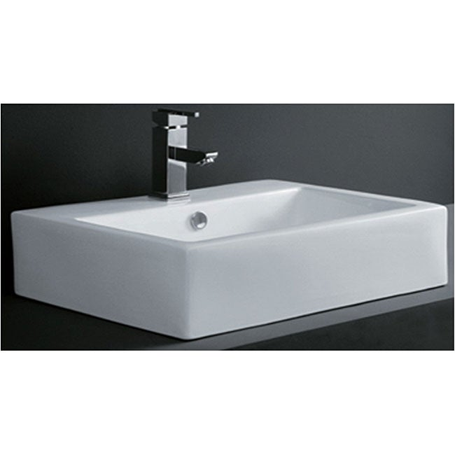 Rectangular Porcelain Bath Vessel Sink - Thumbnail 0