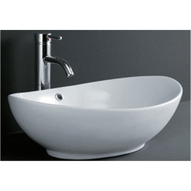 DeNovo Oval Shaped Porcelain Bathroom Vessel Sink