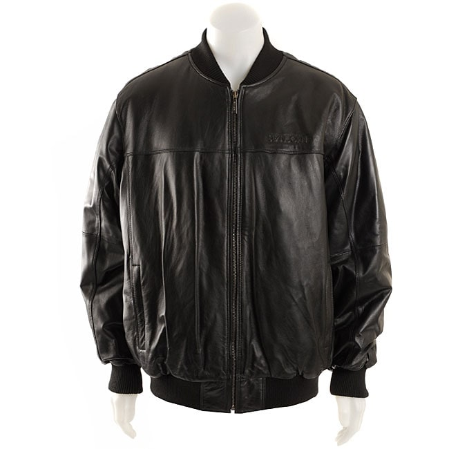 Sean John Men&39s Leather Baseball Jacket - Free Shipping Today