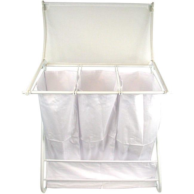 White Triple Laundry Hamper