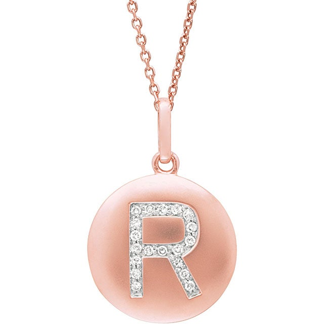 14k Rose Gold Diamond Initial 'R' Disc Necklace