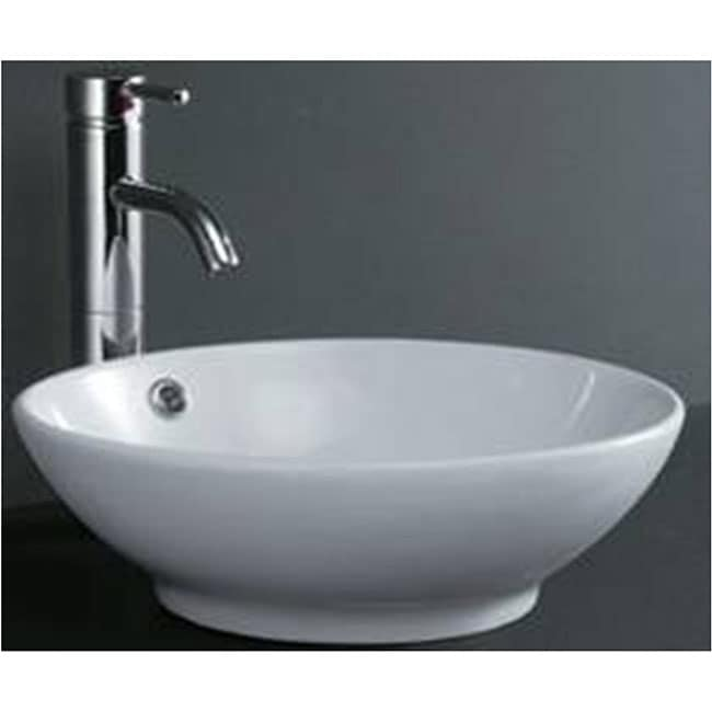 ... Elimax 04 Round Shape White Porcelain Ceramic Bathroom Vessel Sink