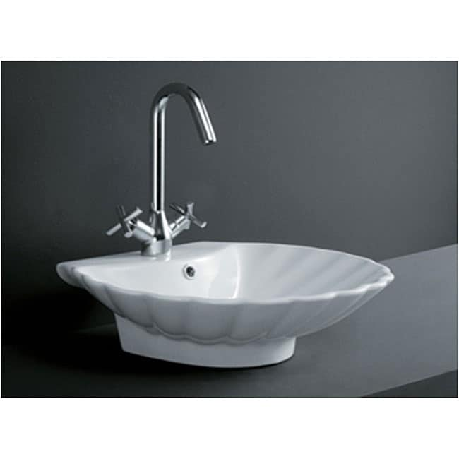 Porcelain Shell-shape Bath Vessel Sink - Thumbnail 0