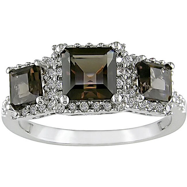 14k Gold 1/3ct TDW Diamond Smokey Quartz Ring (H-I-J, I1-I2)