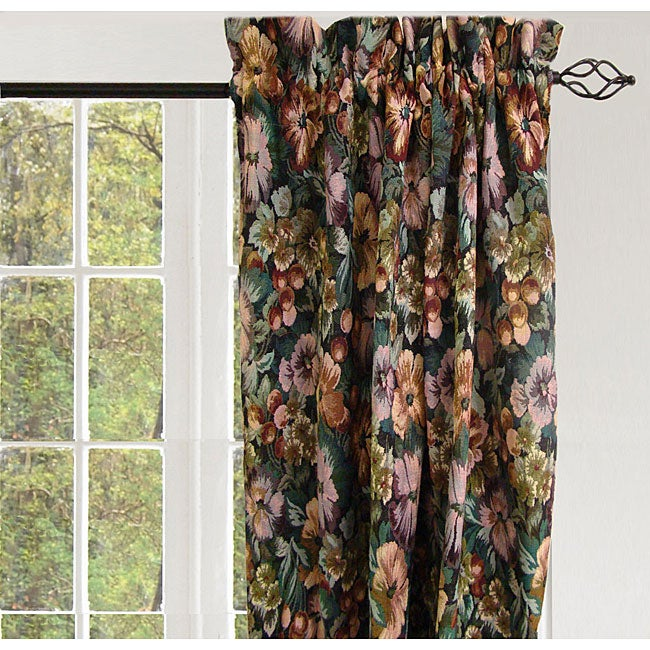 Jewel Botanical Rod Pocket 84-inch Curtain Panel  Pair