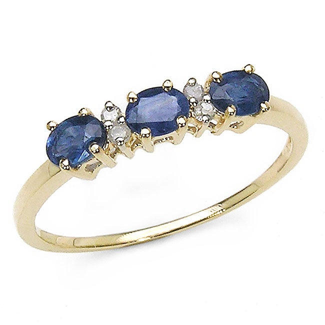 Malaika 10k Gold Blue Sapphire Diamond Ring