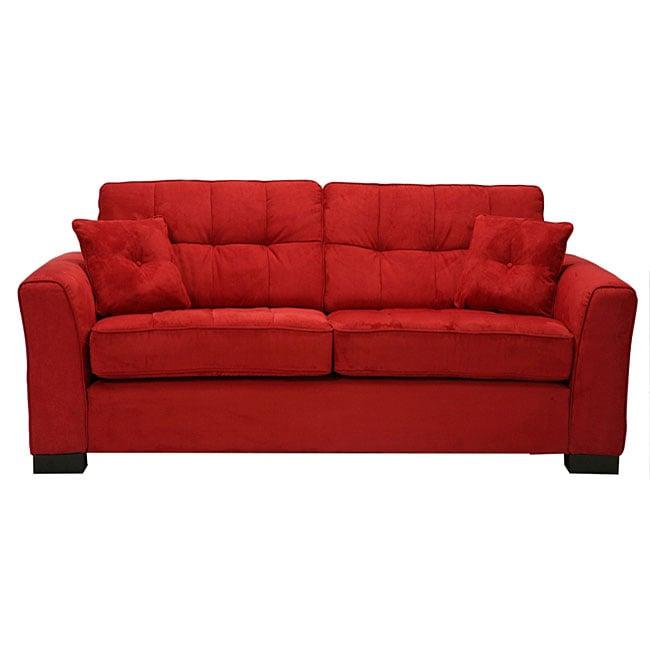 Shop Chey Crimson Red Microfiber Sofa Free Shipping