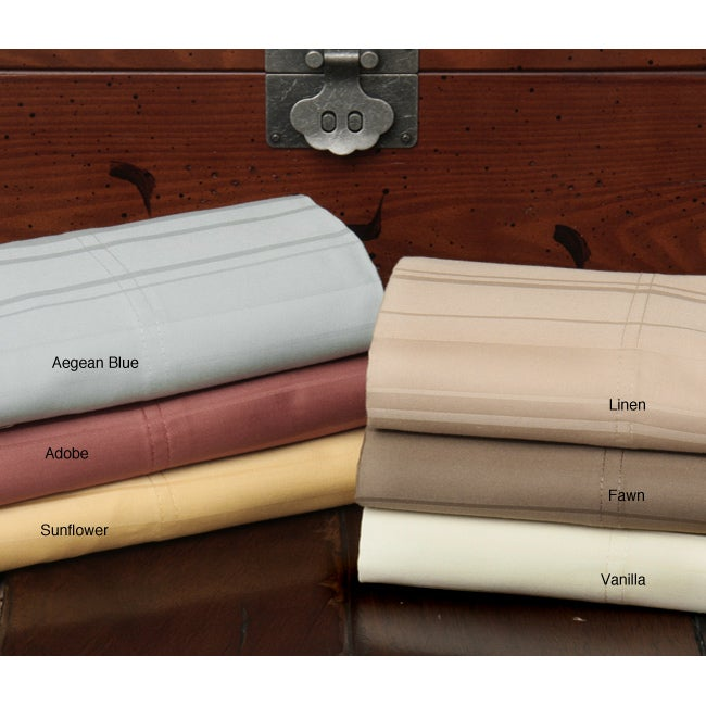 Majestic Dobby Stripe 500 Thread Count 6-piece Bed Sheet Set