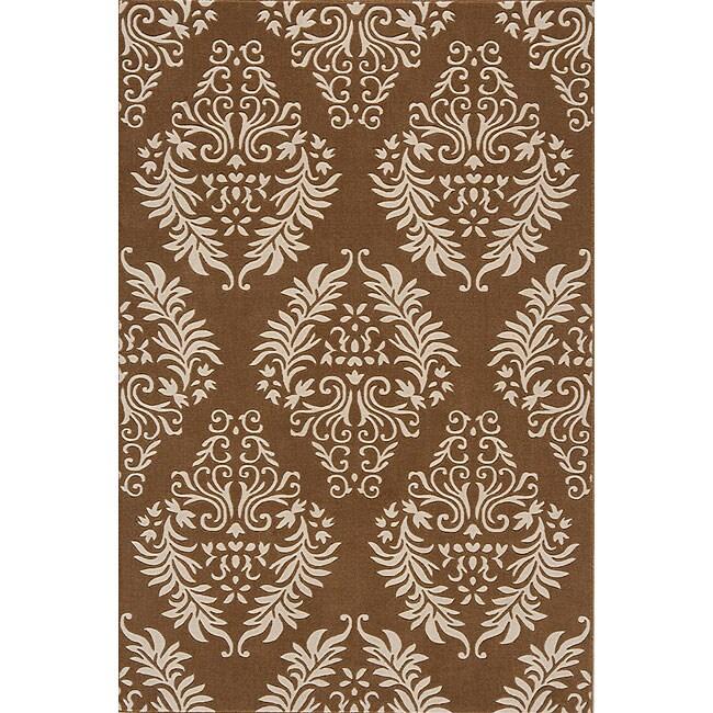 Machine-made Brown Wool Rug (7'9 x 9'9)