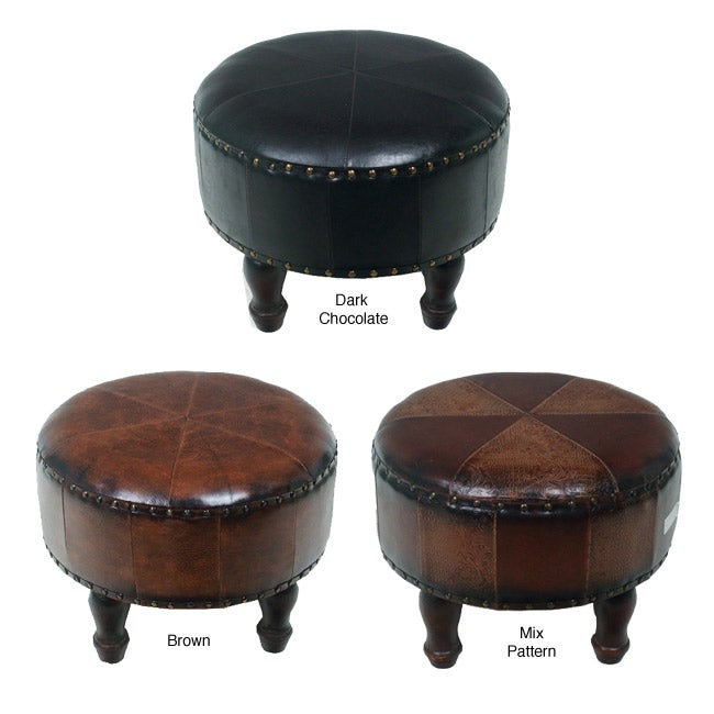 Medium Faux Leather Round Stool Free Shipping Today
