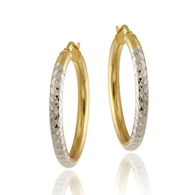 Mondevio 18k Yellow Gold and Sterling Silver Diamond-cut Hoop Earrings