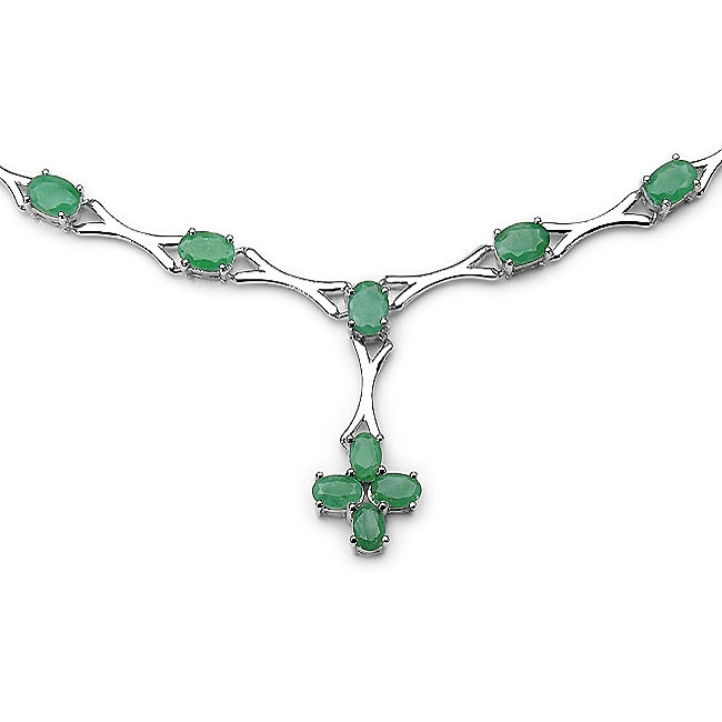 Malaika Sterling Silver Genuine Emerald Necklace
