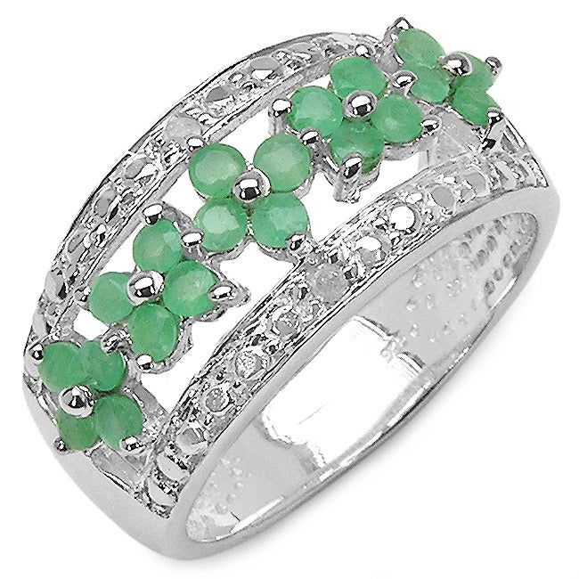 Malaika Sterling Silver Genuine Emerald and Diamond Ring