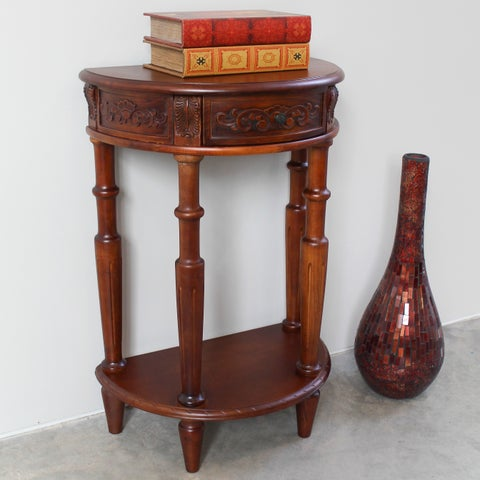 International Caravan Windsor Carved Two-tier Console Table