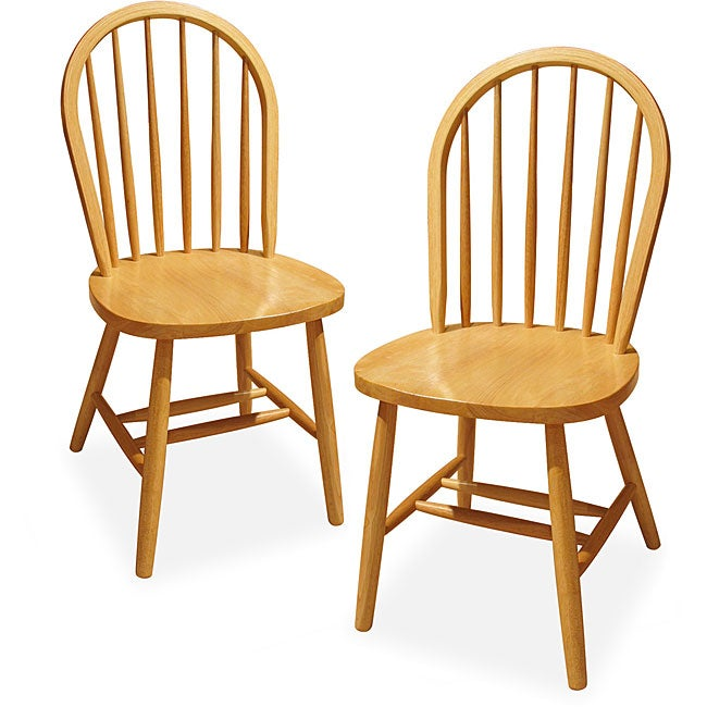 Natural Finish Windsor Chairs (Set of 2) - Free Shipping ...