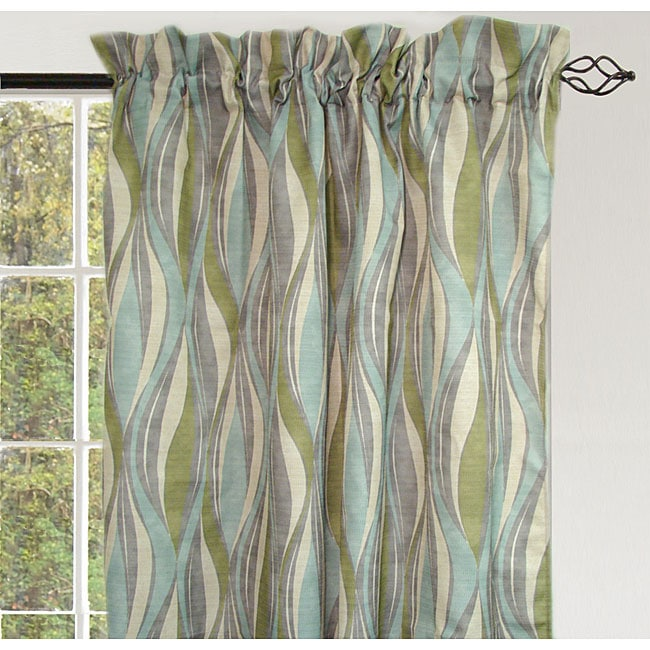 Onxy Waves Rod Pocket 84-inch Curtain Panel Pair