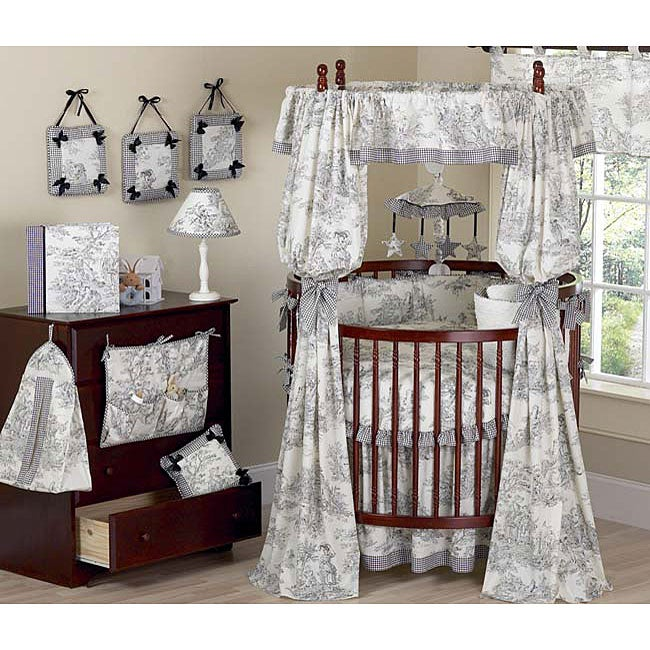 Black Toile Round Crib 21 Piece Baby Bedding Set Free