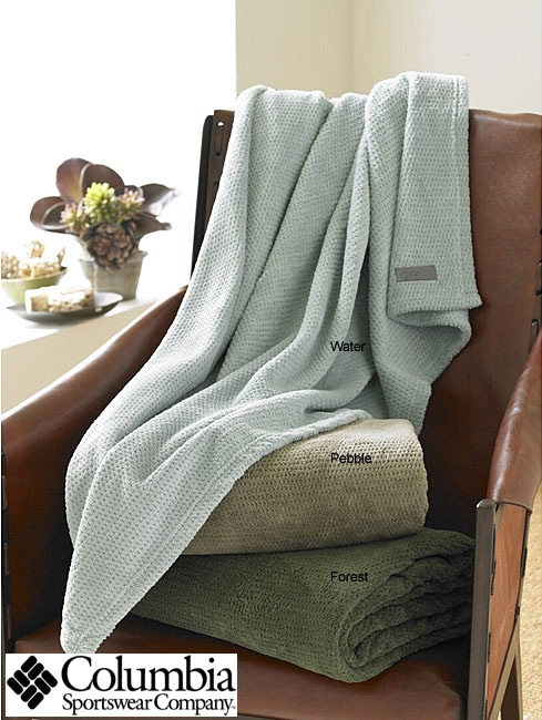 Columbia Solid Pique Fleece Throw Blanket - Thumbnail 0