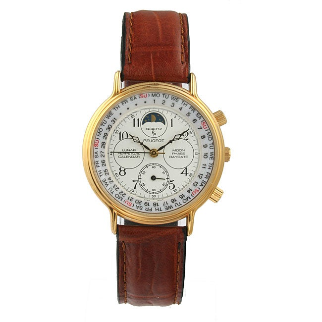 Peugeot Men's Calendar Function Moon Phase Leather Watch ...