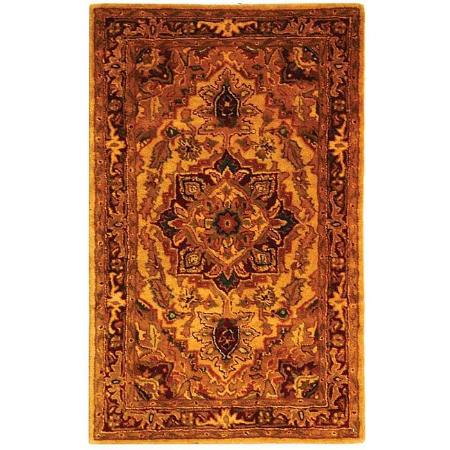 Safavieh Handmade Classic Heriz Gold/ Red Wool Rug (3' x 5')