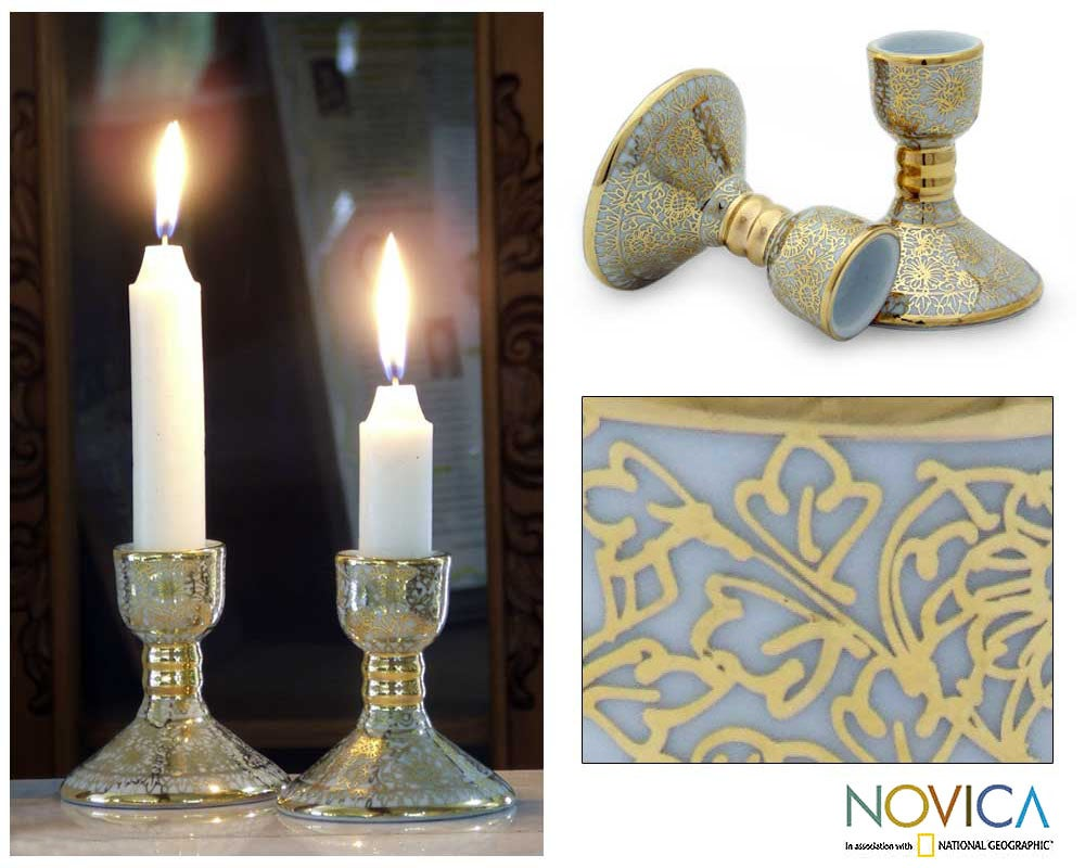 Set of 2 Benjarong Porcelain 'Sunflower Gold' Candle Holders (Thailand)