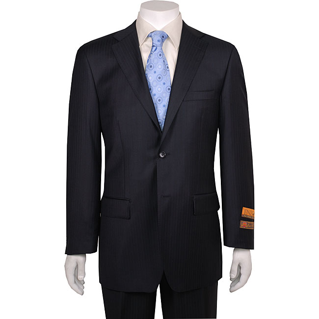 Enzo Men's 2-button Navy Tone-on-tone Wool Suit