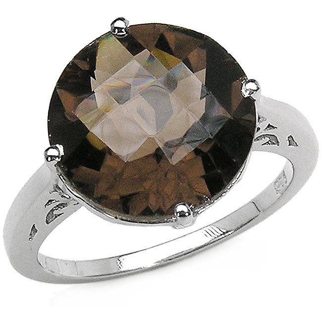 Malaika Sterling Silver Smokey Quartz Solitaire Ring