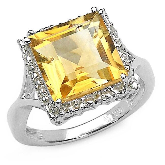 Malaika Glimmering 4.00ctw Genuine Citrine Silver Ring