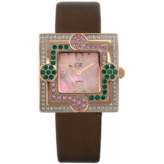 Charles Winston Women's Pink and Green Crystal Flower Watch
