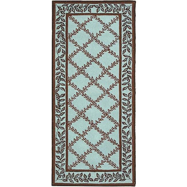 Safavieh Hand-hooked Trellis Turquoise Blue/ Brown Wool R...