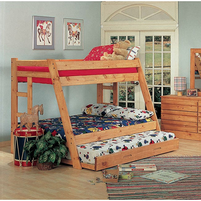 Ponderosa Pine Twin Over Full Size Bunk Bed With Trundle