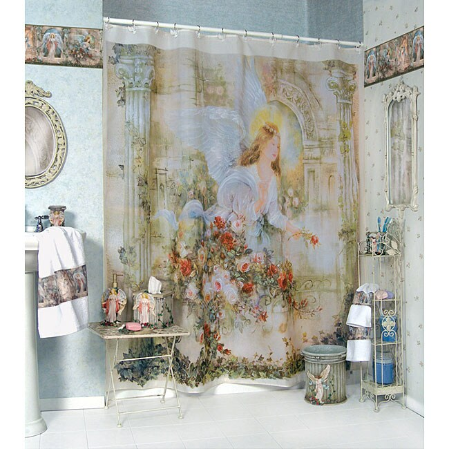 Herald Angels Shower Curtain And Hooks Set Free Shipping