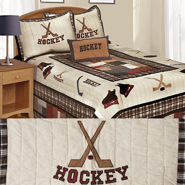 Hockey Time Cotton Patchwork Quilt Set - Free Shipping Today - Overstock.com - 11768432