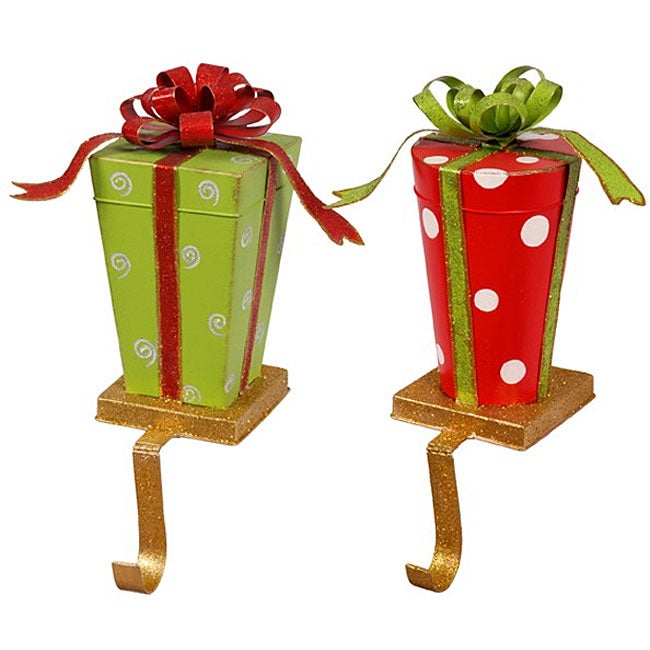 gift box stocking holders set of 2 free shipping on. Black Bedroom Furniture Sets. Home Design Ideas